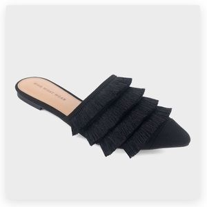What What black fringe tassel pointed mules shoes